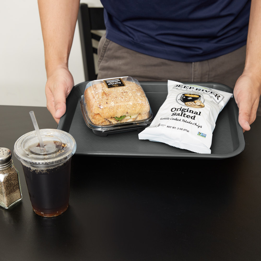 "Carlisle CT101423 Customizable Cafe 10"" x 14"" Gray Standard Plastic Fast Food Tray - 24/Case"