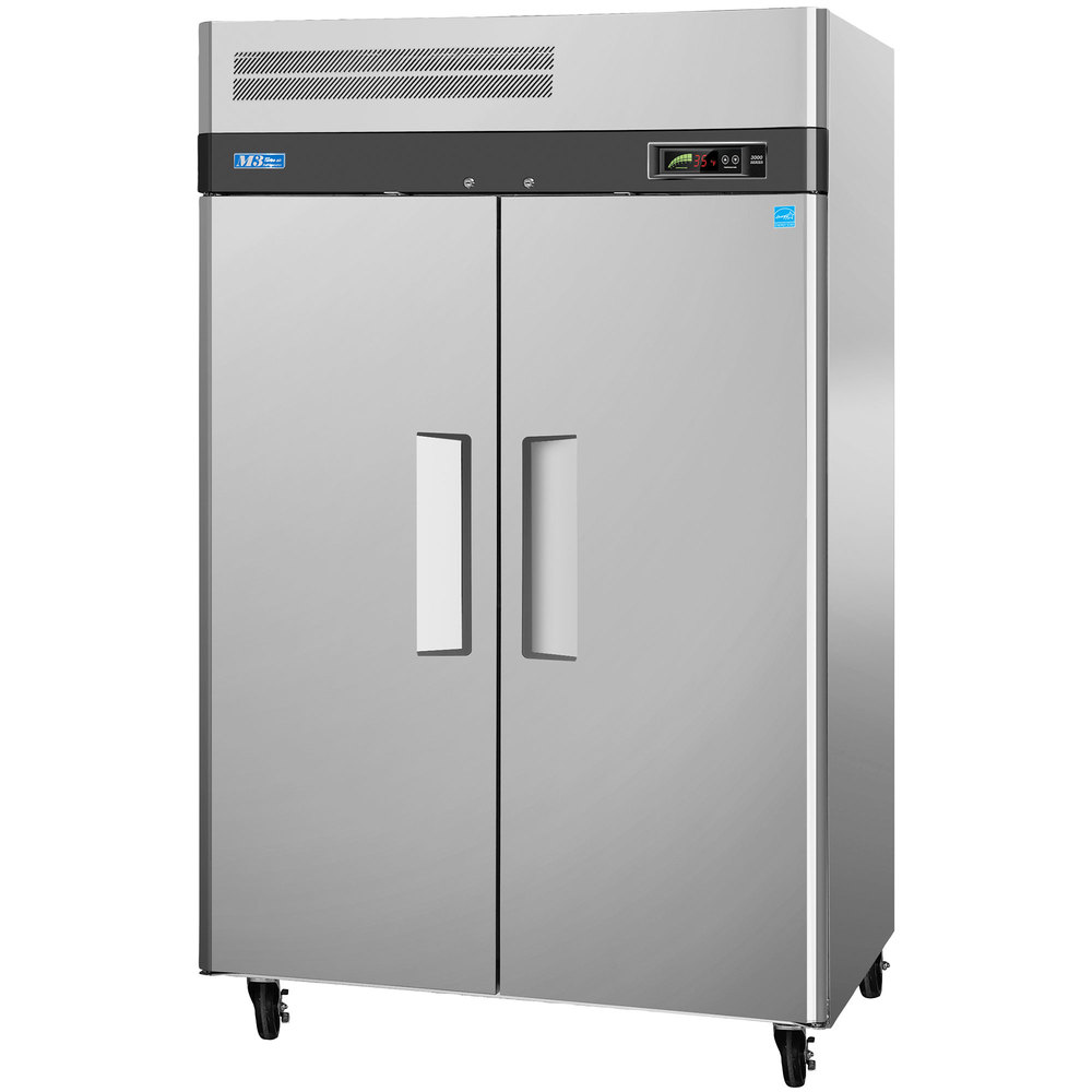 115 volts turbo air m3f472 52 inch m3 series two section solid door reach in freezer