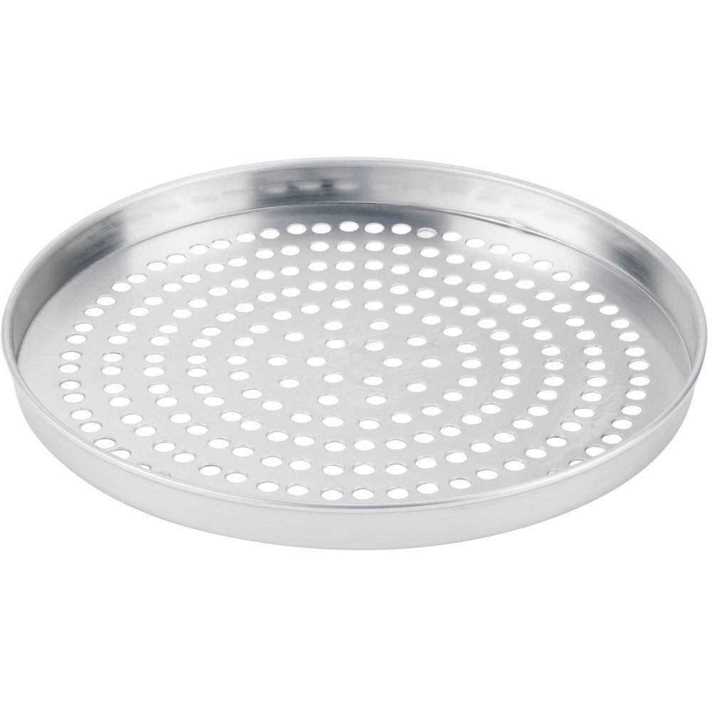"American Metalcraft A4011SP 11"" x 1"" Super Perforated Standard Weight Aluminum Straight Sided Pizza Pan"