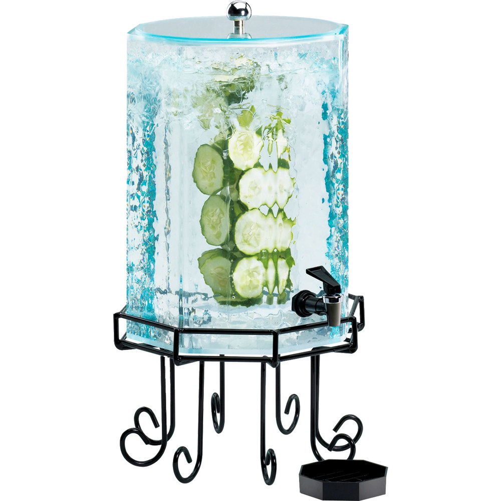 Cal-Mil 932-2INF Glacier Acrylic 2 Gallon Octagonal Beverage Dispenser with Infusion Chamber