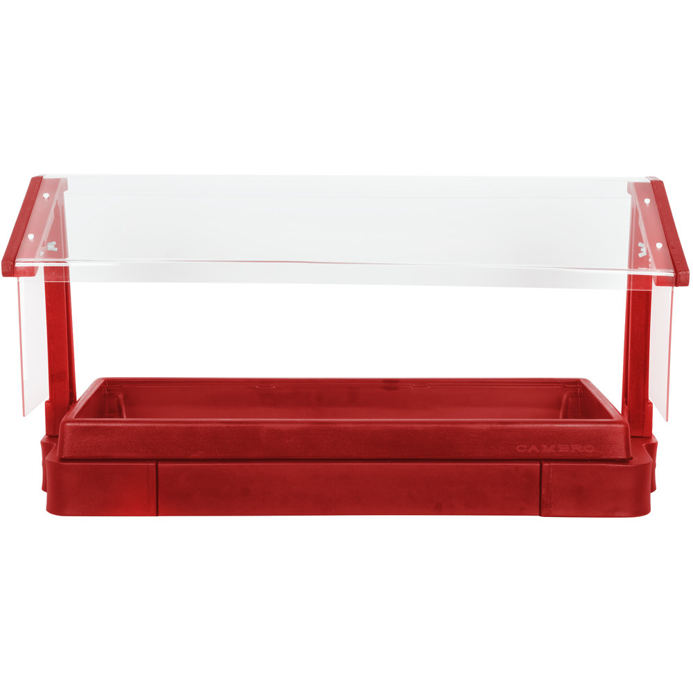 "Cambro BBR720158 74"" x 24"" x 25"" Red Buffet / Salad Bar with Free Standing Sneeze Guard"