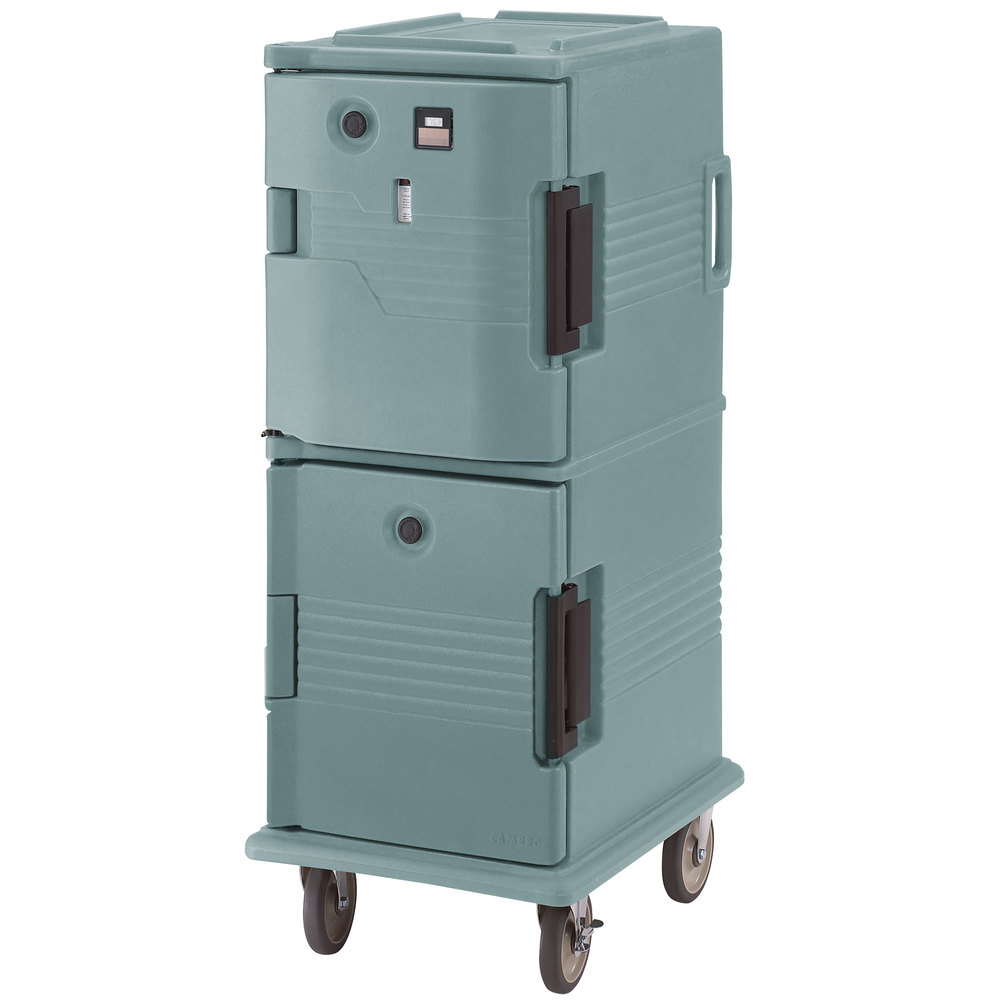 Cambro UPCHT800401 Slate Blue Ultra Camcart Two Compartment Heated Holding Pan Carrier with Casters, Top Compartment Heated - 110V