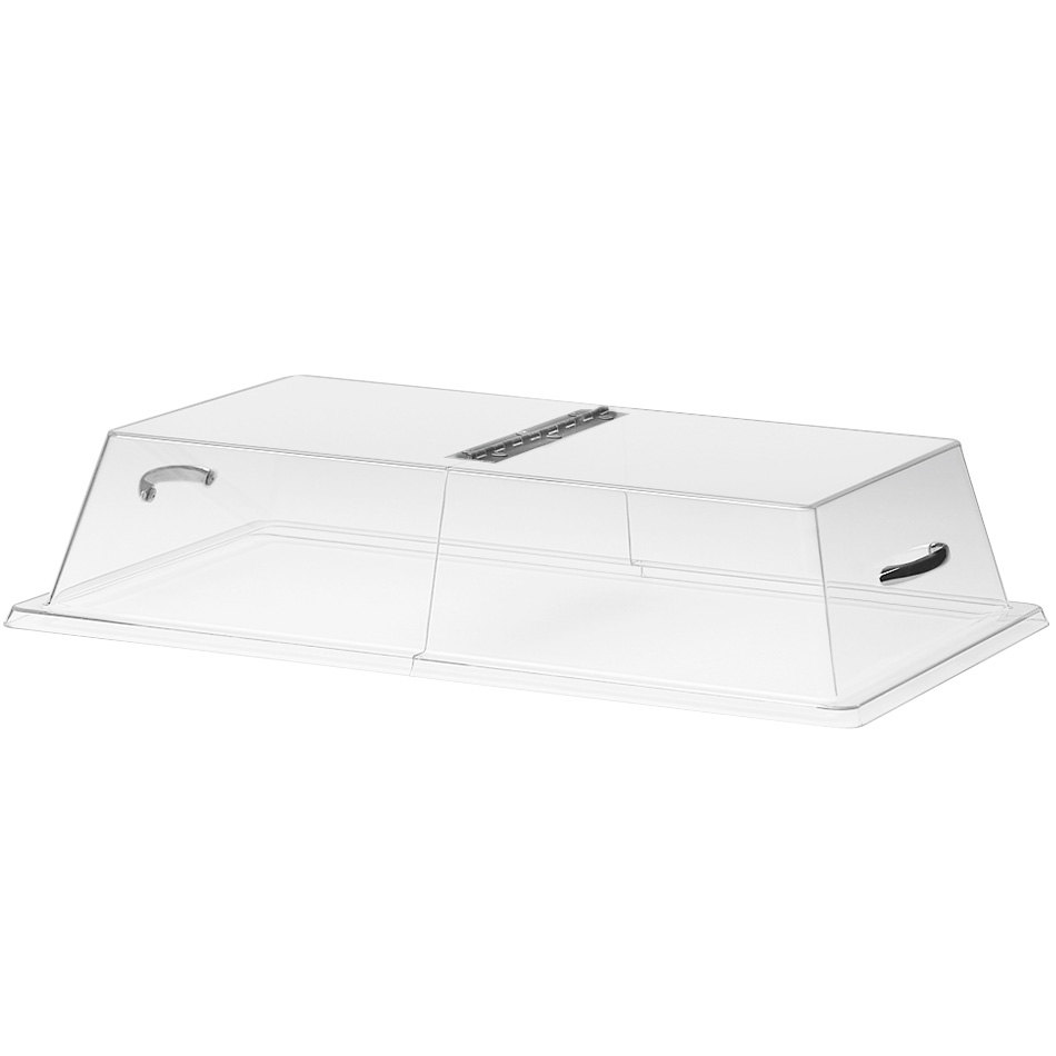 "Cal-Mil 328-18 Clear Standard Rectangular Bakery Tray Cover with Center Hinge - 18"" x 26"" x 4"""