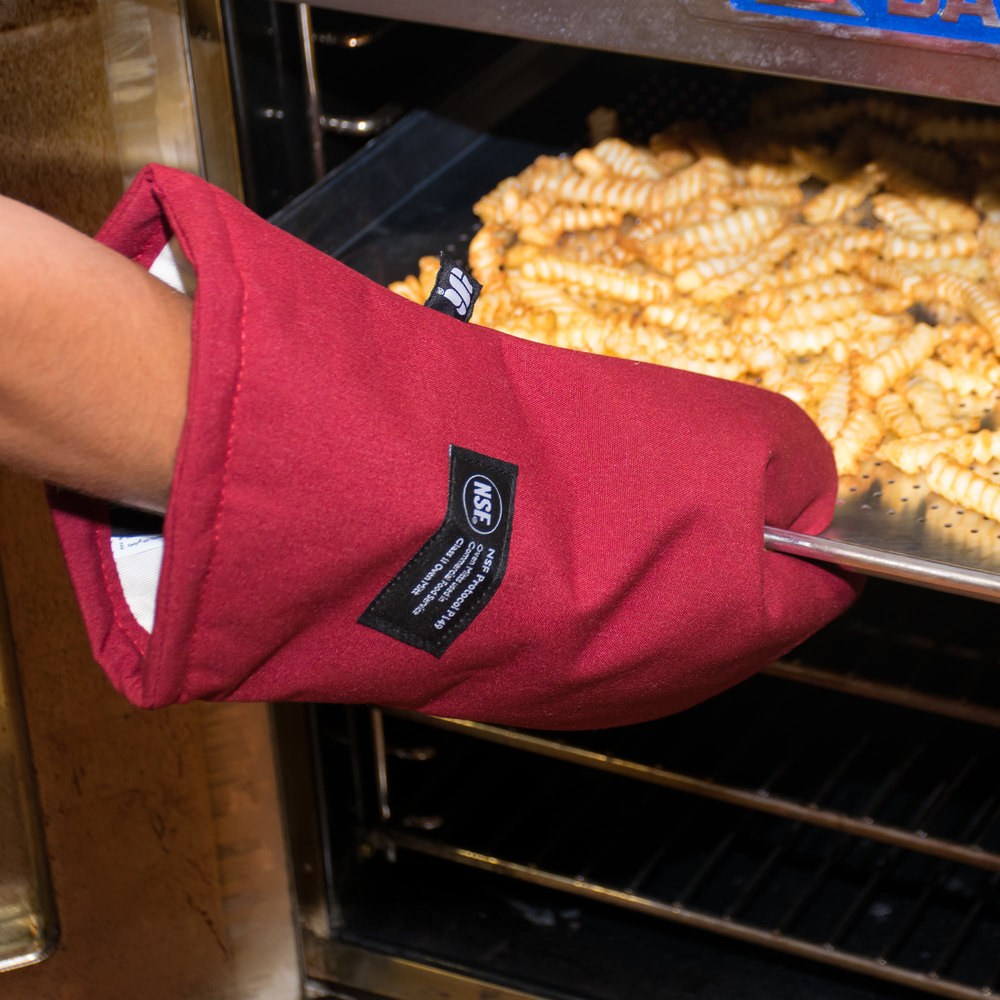 "San Jamar KT0218 Cool Touch 17"" Flame Red Conventional Oven Mitt with Kevlar®"