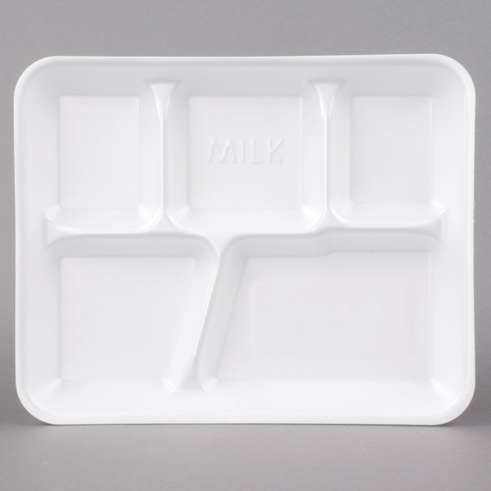 Genpak 10500 10 3/8\  x 8 3/8\  x 1 3/16\  5 Compartment White Foam School Tray - 500/Case : 5 compartment paper plates - pezcame.com