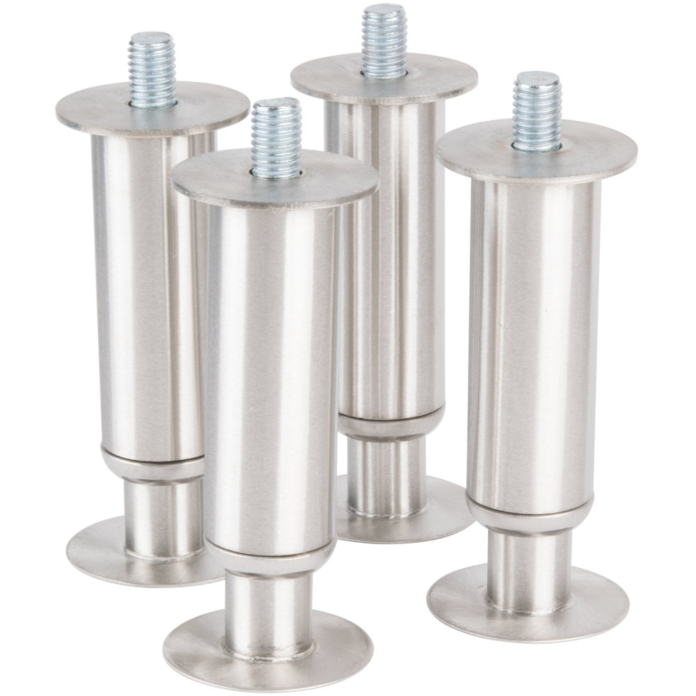 "Manitowoc K-00151 6"" Adjustable Gray Flanged Feet - 4/Set"