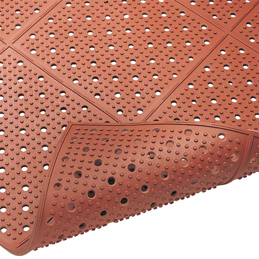 "Cactus Mat 1640R-R364 REVERS-a-MAT 3' Wide Red Reversible Rubber Anti-Fatigue Safety Runner Mat - 3/8"" Thick"