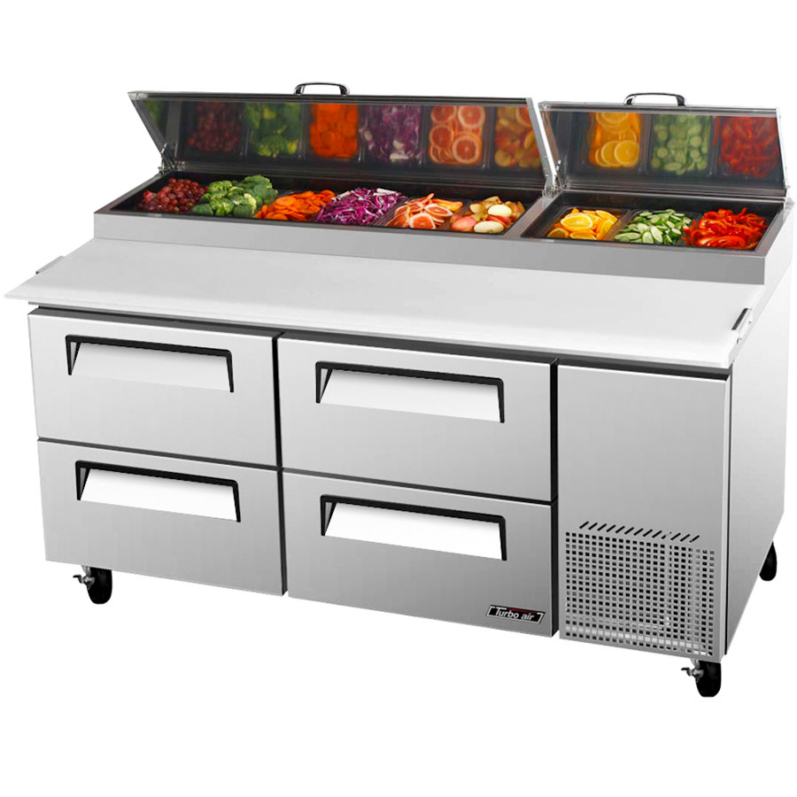"Turbo Air TPR-67SD-D4 67"" Four Drawer Pizza Prep Table"