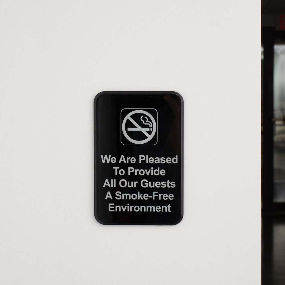 "9"" x 6"" Black and White We Are Pleased To Provide All Our Guests A Smoke-Free Environment Sign"