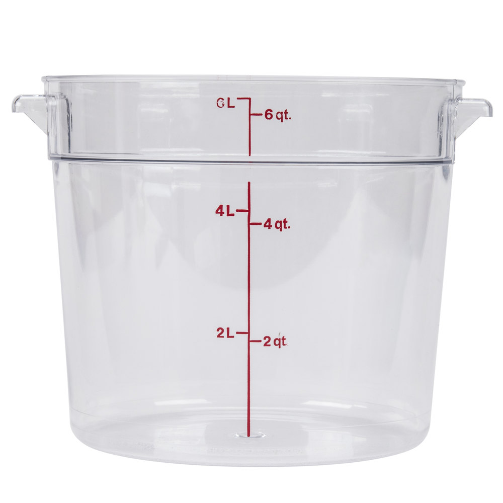 Cambro Rfscw6 Camwear 6 Qt Clear Round Food Storage Container