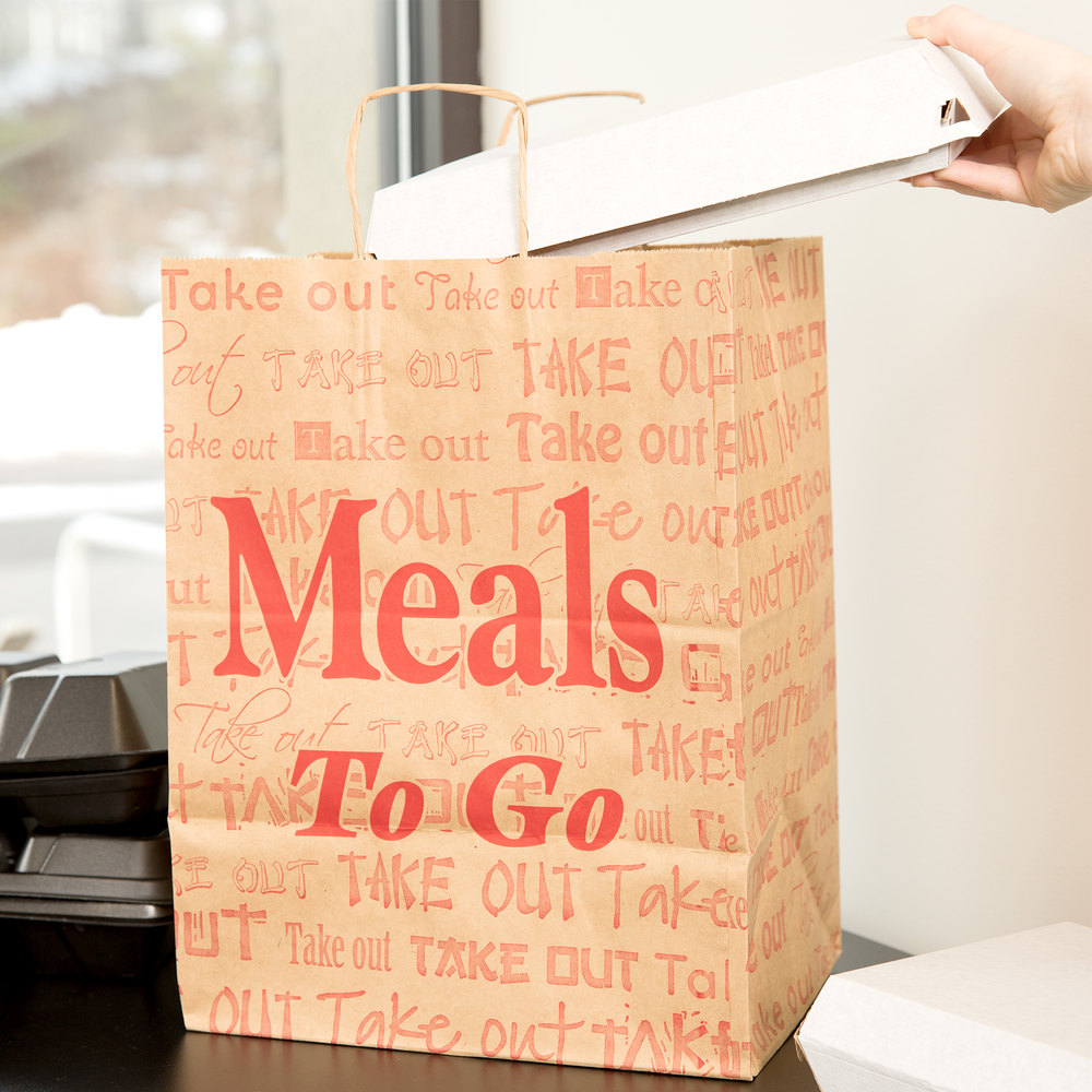 "Duro Natural Kraft Paper Shopping Bag with Handles - ""Meals to Go"" Printing 12"" x 9"" x 16"" - 200/Bundle"