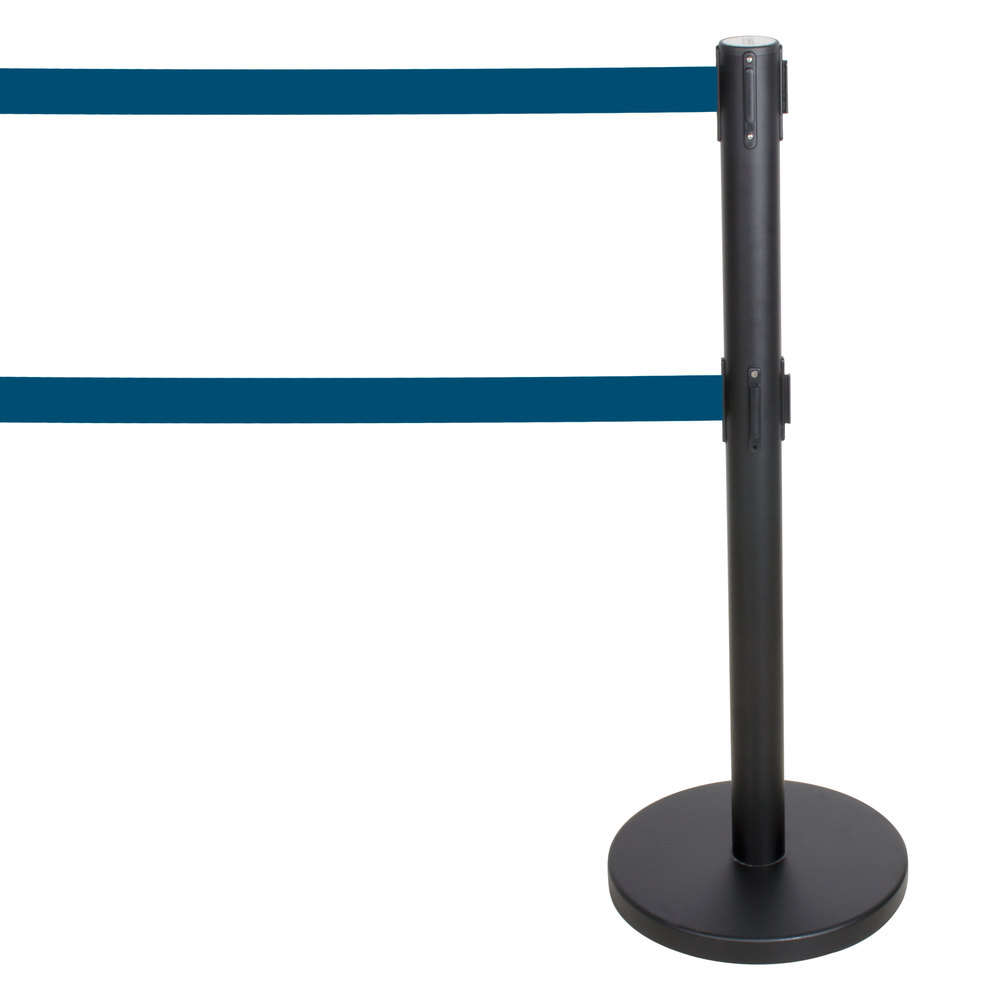 "Aarco Black 40"" Crowd Control / Guidance Stanchion with Dual 84"" Blue Retractable Belts"