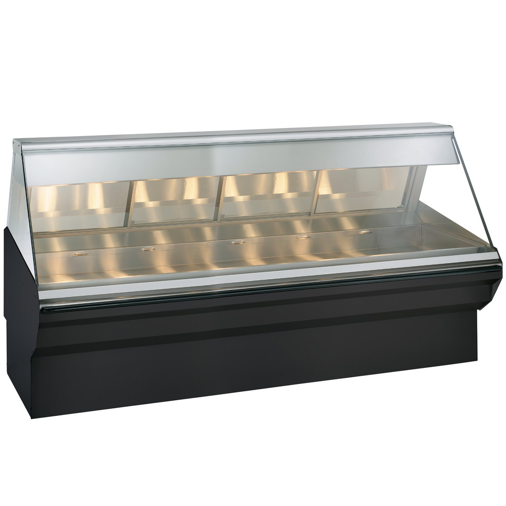 Alto-Shaam EC2SYS-96/PL BK Black Heated Display Case with Angled Glass and Base - Left Self Service 96""