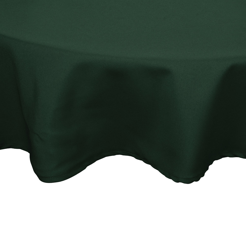 "72"" Round Forest Green 100% Polyester Hemmed Cloth Table Cover"