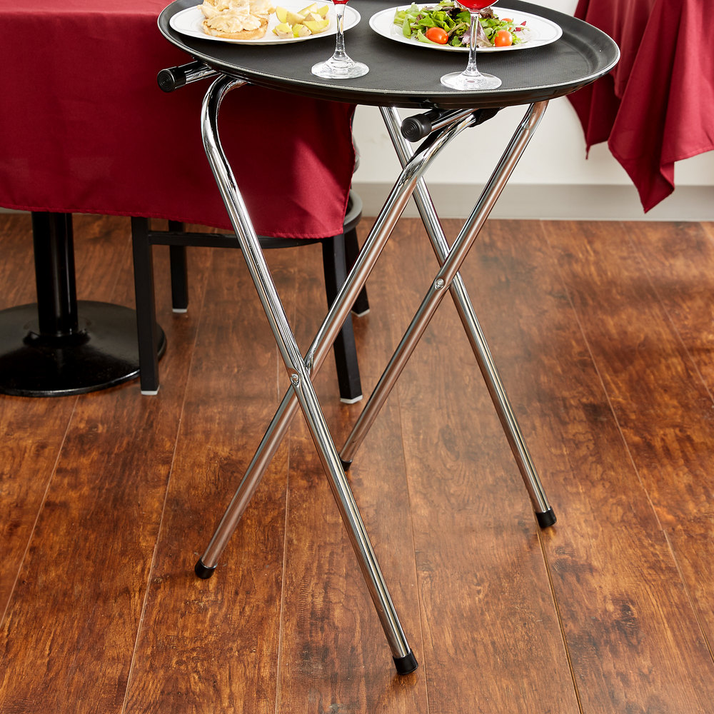 "19"" X 16 1/2"" X 31"" Folding Chrome Tray Stand"