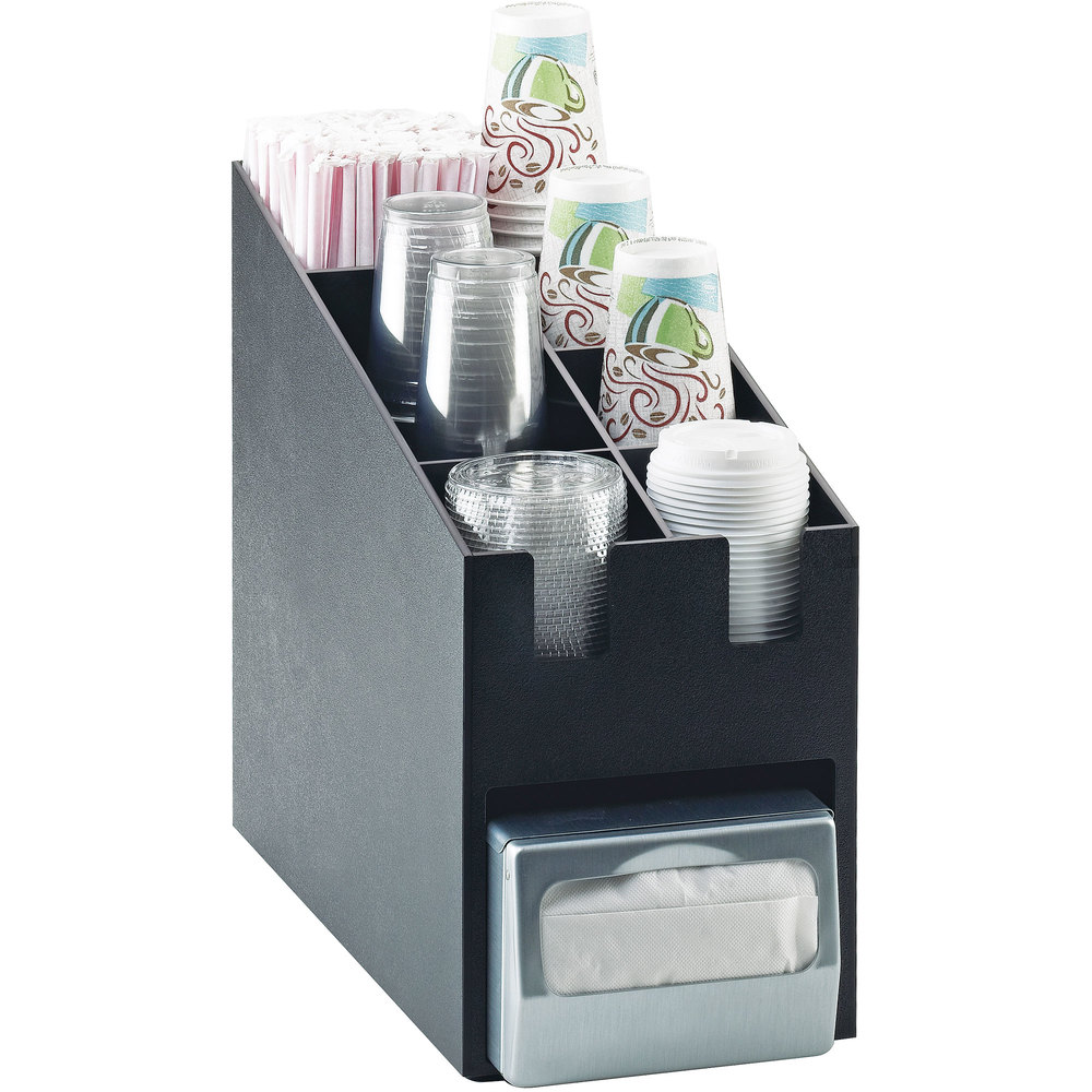 "Cal-Mil 2046 Classic Cup / Lid / Straw Organizer with Napkin Dispenser Slot - 9 1/4"" x 19 1/4"" x 16 3/4"""