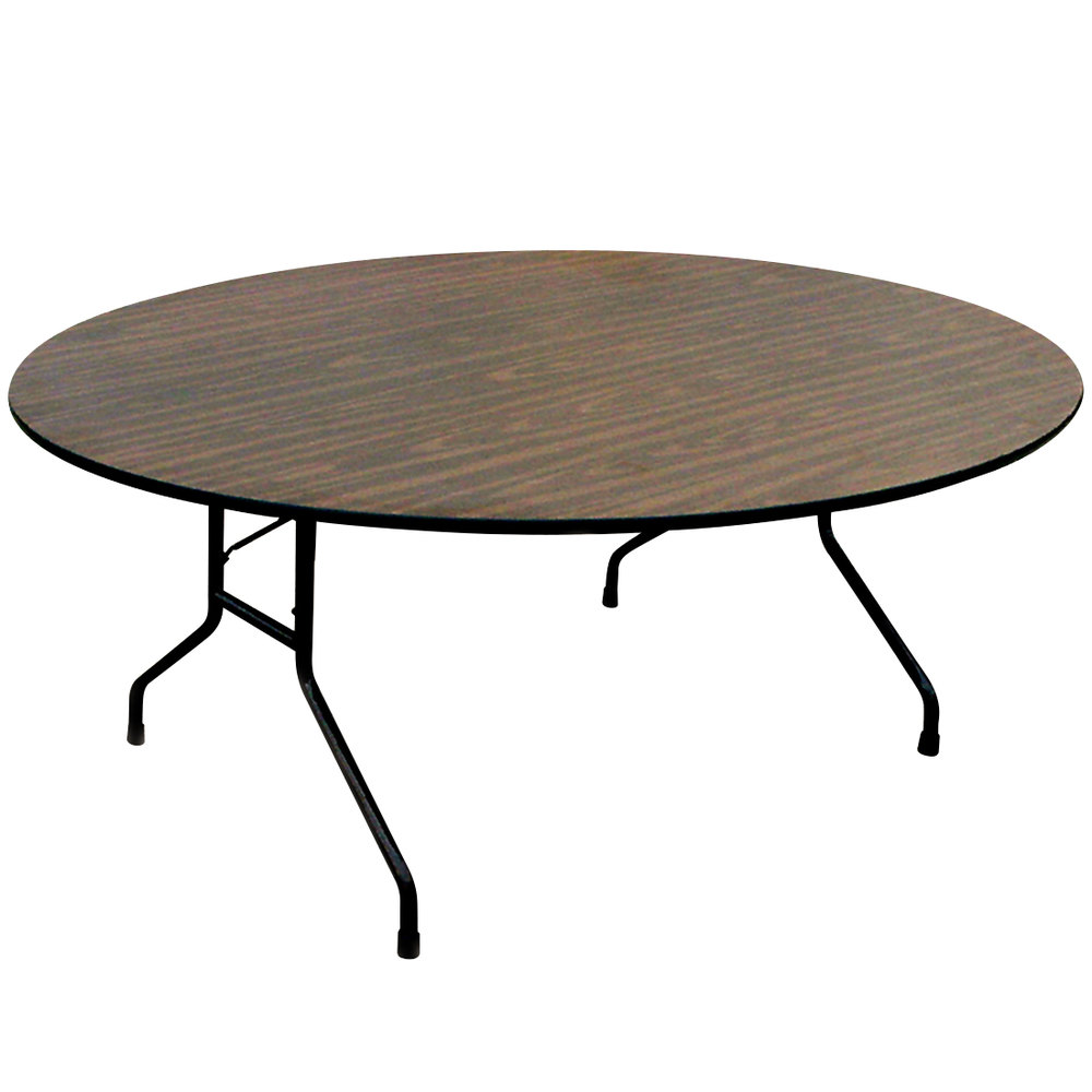 Correll Round Folding Table, 60 Inch Melamine Top, Walnut   CF60MR