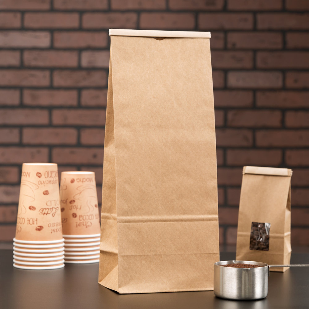5 lb. Brown Customizable Paper Coffee Bag Tin Tie Reclosable 250 / Case