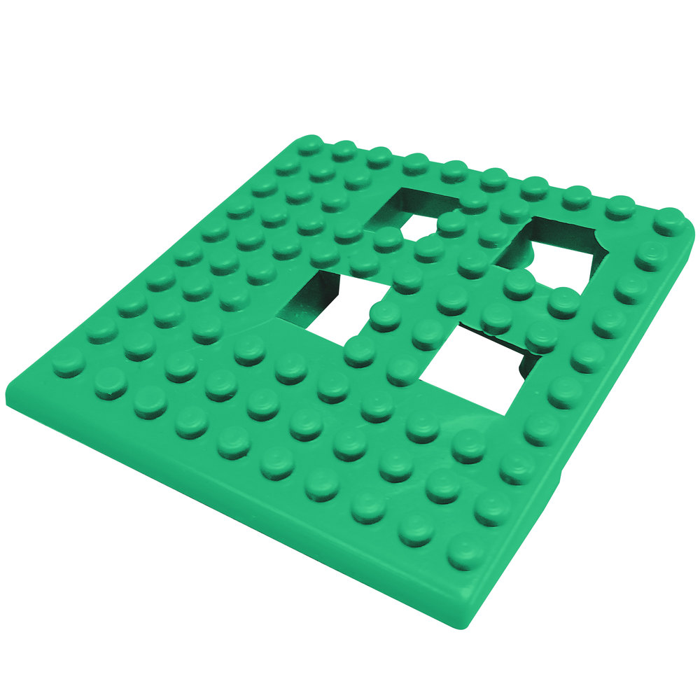 "Cactus Mat 2554-GC Dri-Dek 2"" x 2"" Kelly Green Vinyl Interlocking Drainage Floor Tile Corner Piece - 9/16"" Thick"