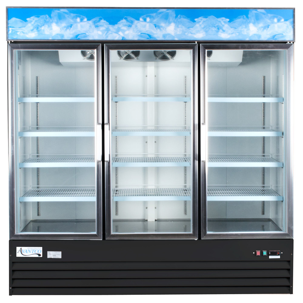 "Avantco GDC-69 79"" Black Three Section Swing Glass Door Merchandising Refrigerator with LED Lighting"