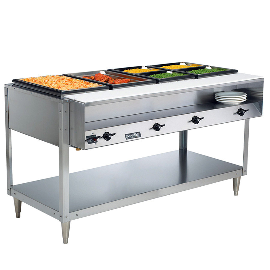 Vollrath 38104 ServeWell Electric Four Pan Sealed Well Hot Food Table - 120V