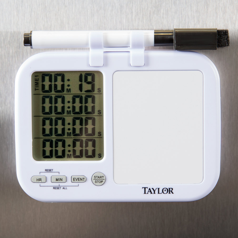 Taylor 5849 Digital 4 Channel Kitchen Timer With White Board And Dry Erase Pen