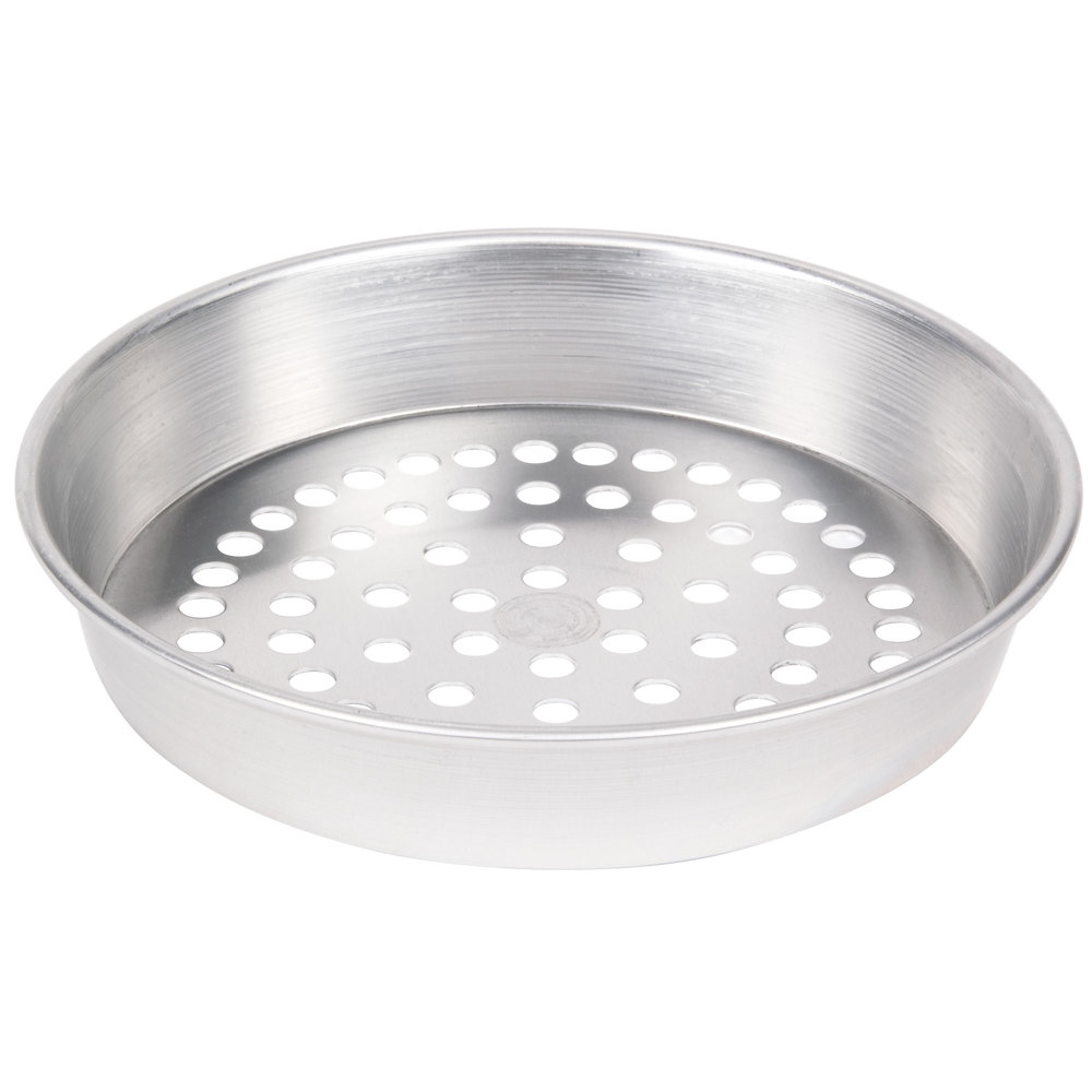 "American Metalcraft SPA90101.5 10"" x 1 1/2"" Super Perforated Standard Weight Aluminum Tapered / Nesting Pizza Pan"