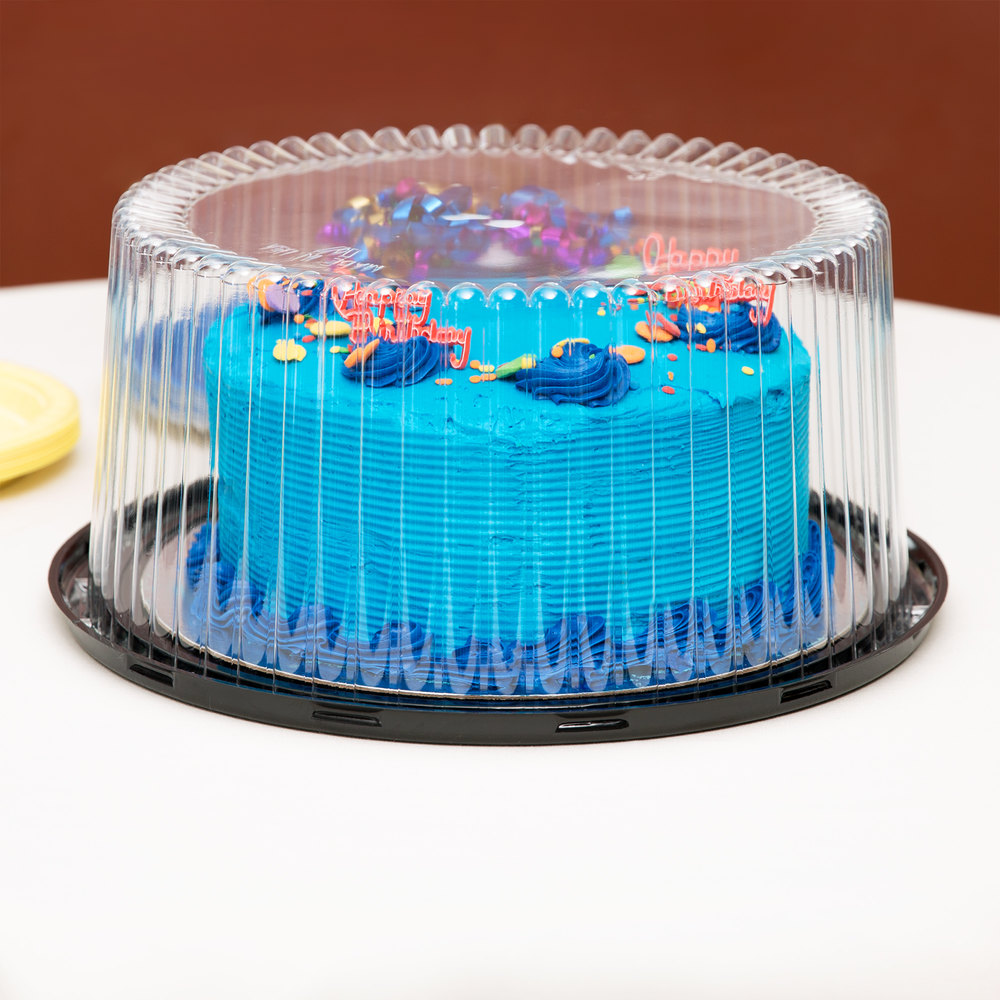 "D&W Fine Pack G40-1 10"" 2-3 Layer Cake Display Container with Clear Dome Lid - 10/Pack"