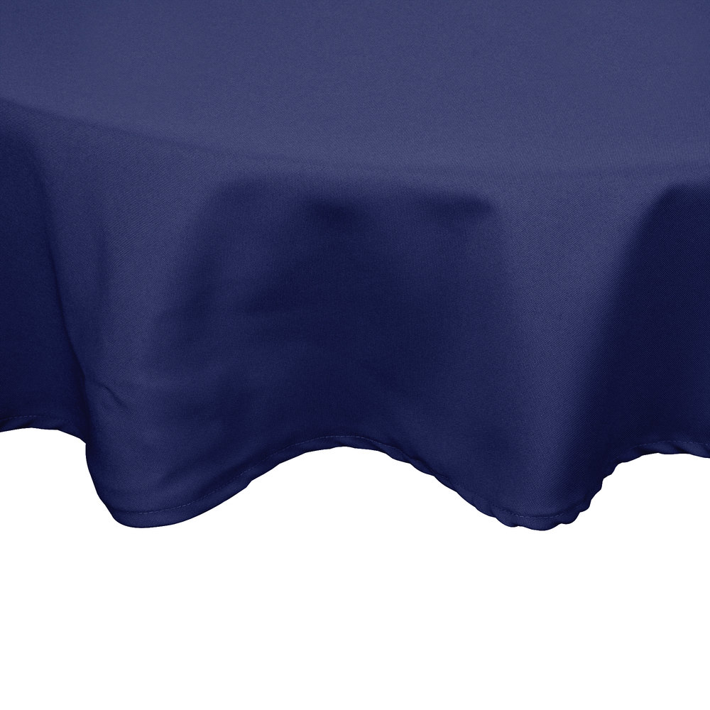"120"" Round Navy Blue 100% Polyester Hemmed Cloth Table Cover"