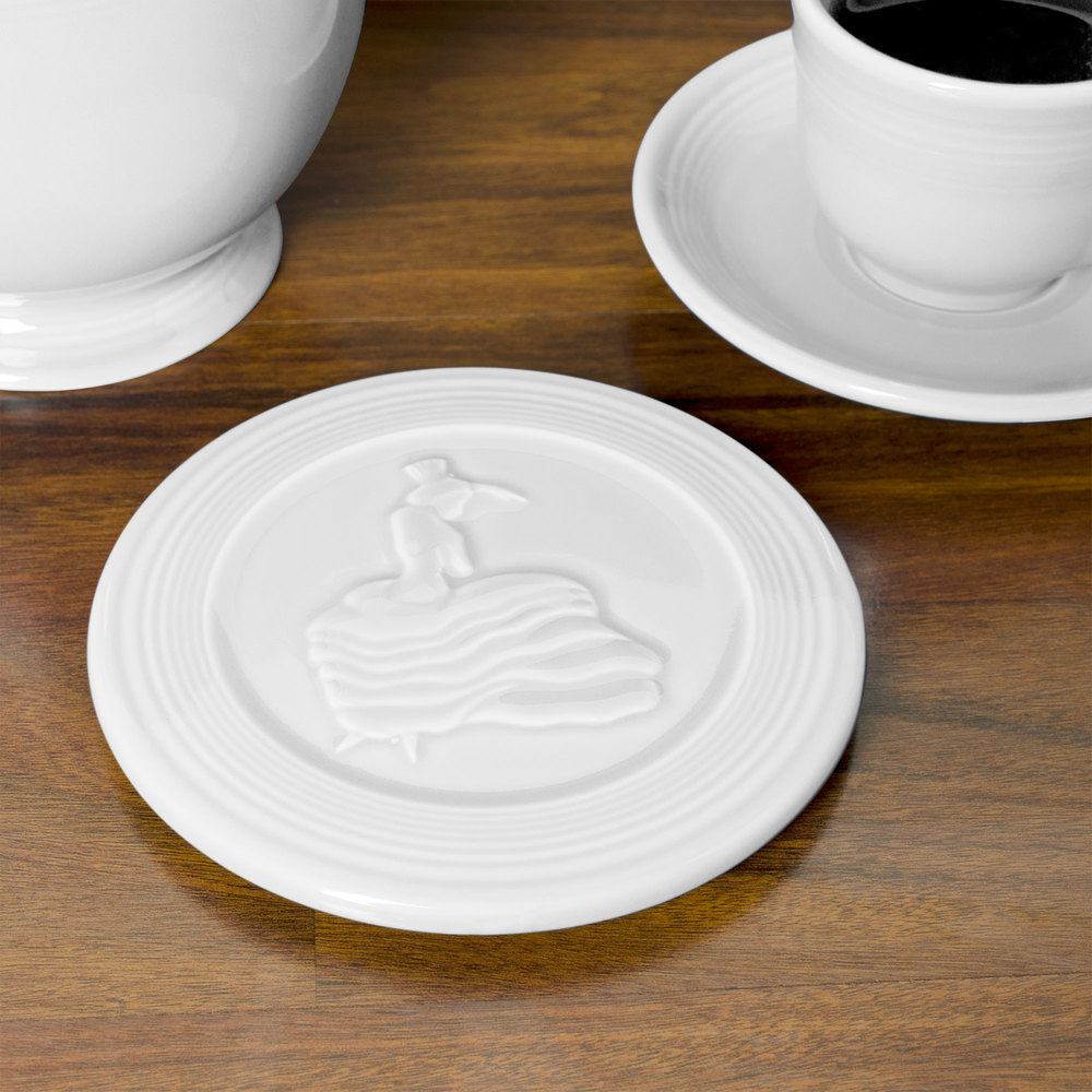 "Homer Laughlin 443100 Fiesta White 6"" Trivet - 6/Case"