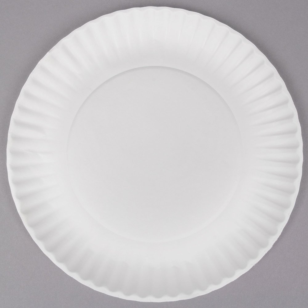 "9/"" White Round Paper Plates Party Dinnerware Tableware 1,000 ct. Lightweight"