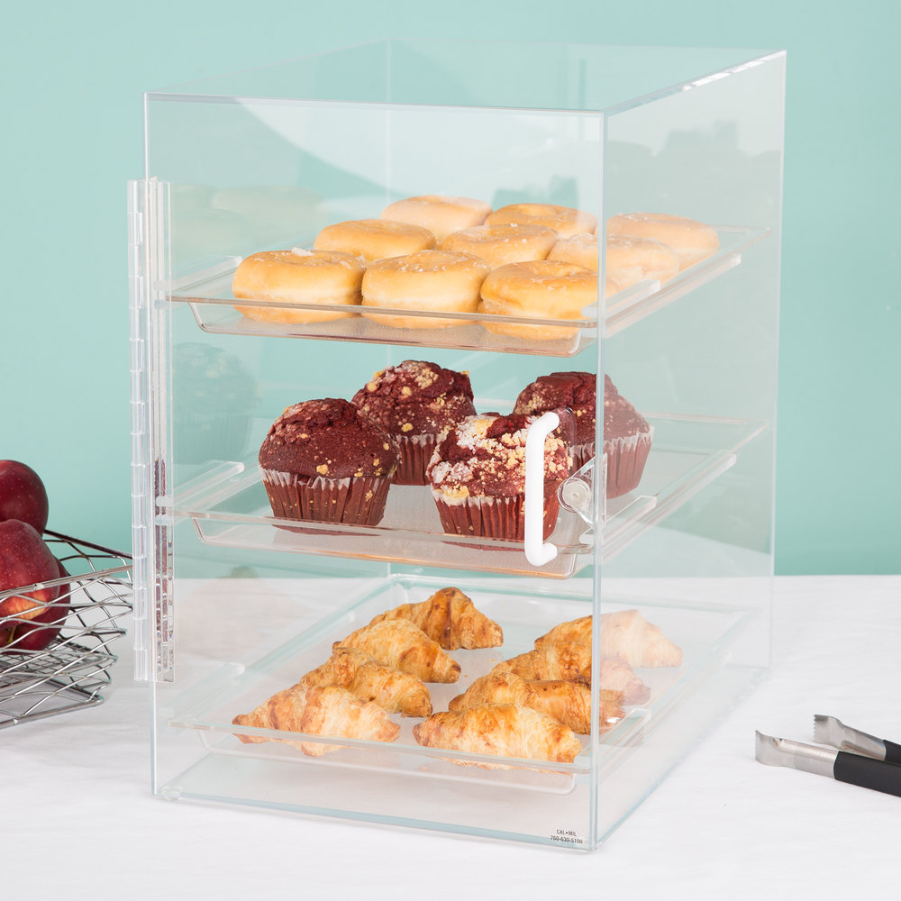 "Cal-Mil 257 Classic Three Tier Straight Front Display Case with Rear Door - 11"" x 15 1/2"" x 17"""