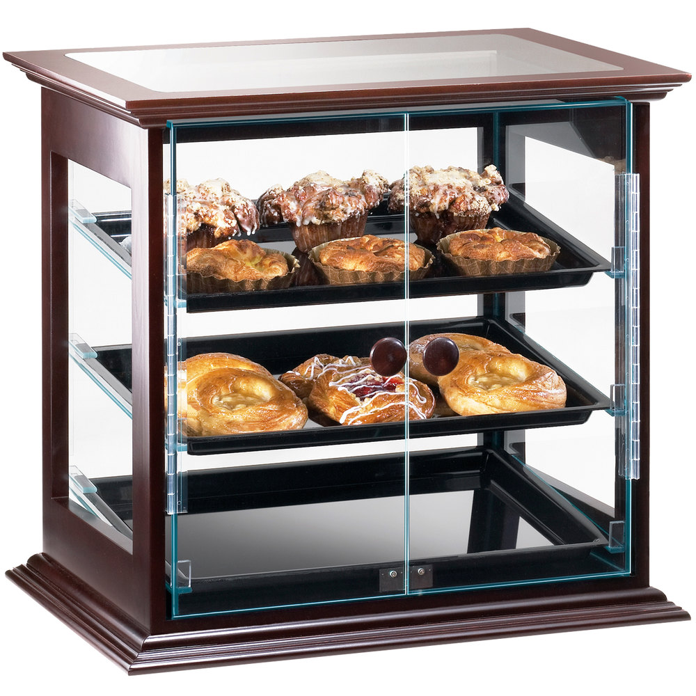 "Cal-Mil 284-S-52 Westport Three Tier Wood Frame Display Case with Dual Front Doors - 21 3/4"" x 18 1/2"" x 20 1/4"""
