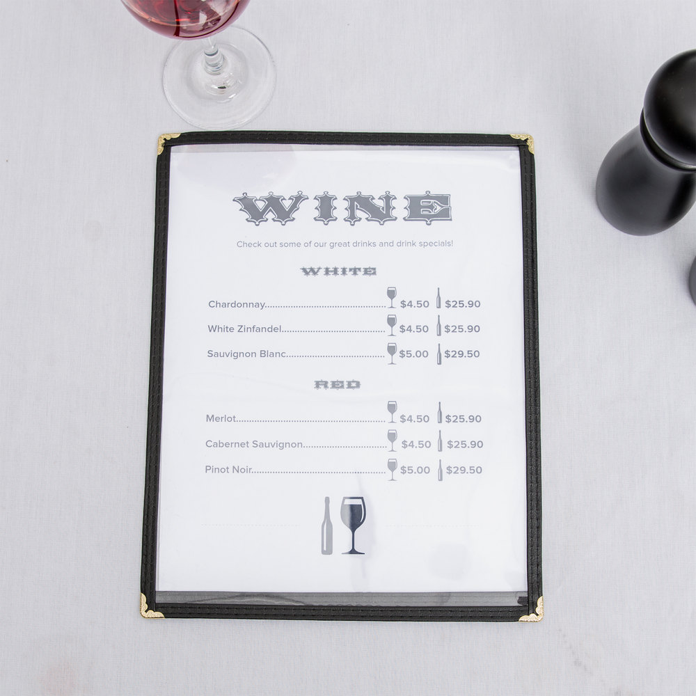"8 1/2"" x 11"" Single Pocket Menu Cover - Black"