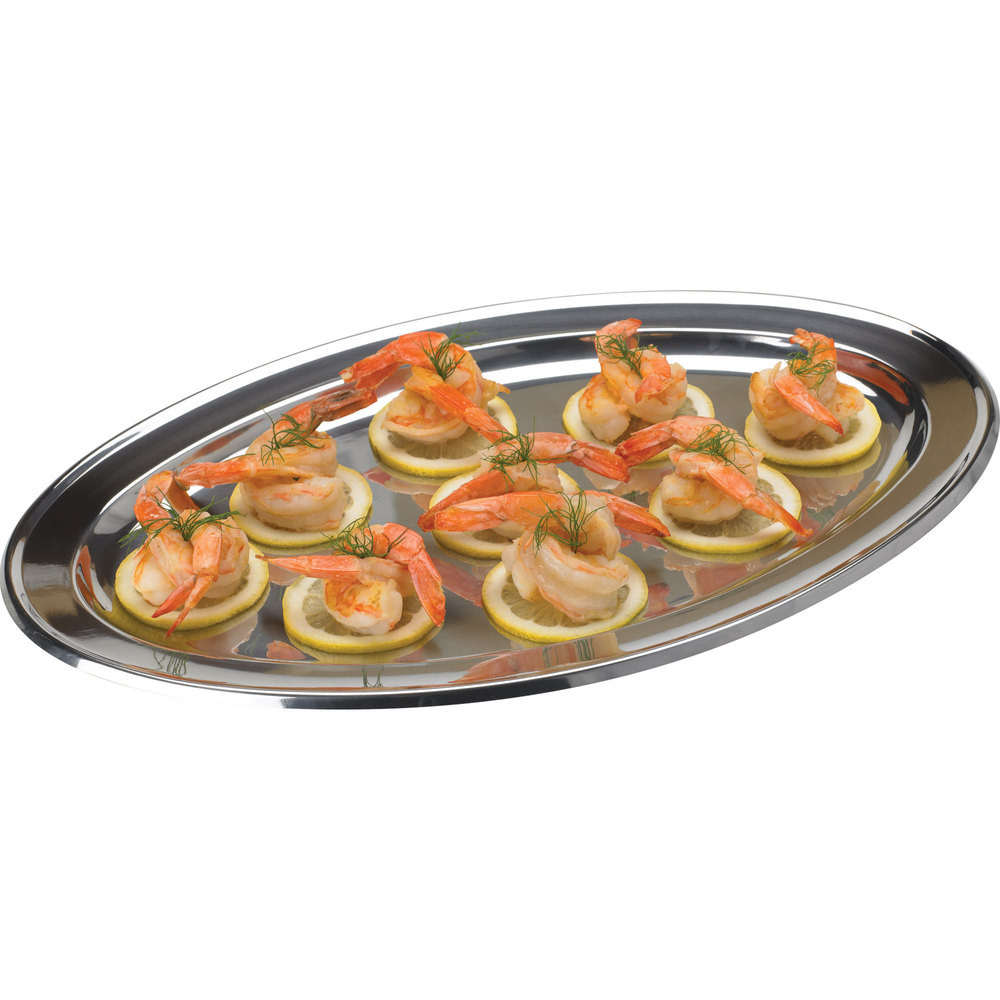 "Vollrath 47238 Mirror-Finished Stainless Steel Oval Platter - 18"" x 12"""