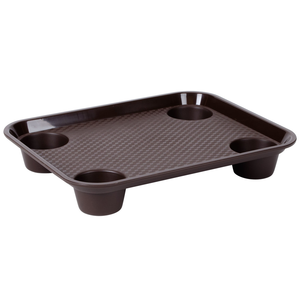 "GET FT-20-BR 14"" x 17"" Brown Plastic Fast Food Tray with"