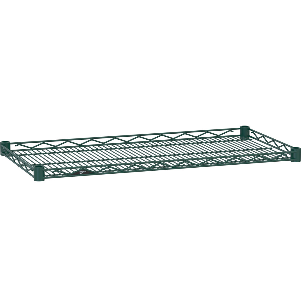 "Metro HDM1436-DHG Super Erecta Hunter Green Drop Mat Wire Shelf - 14"" x 36"""