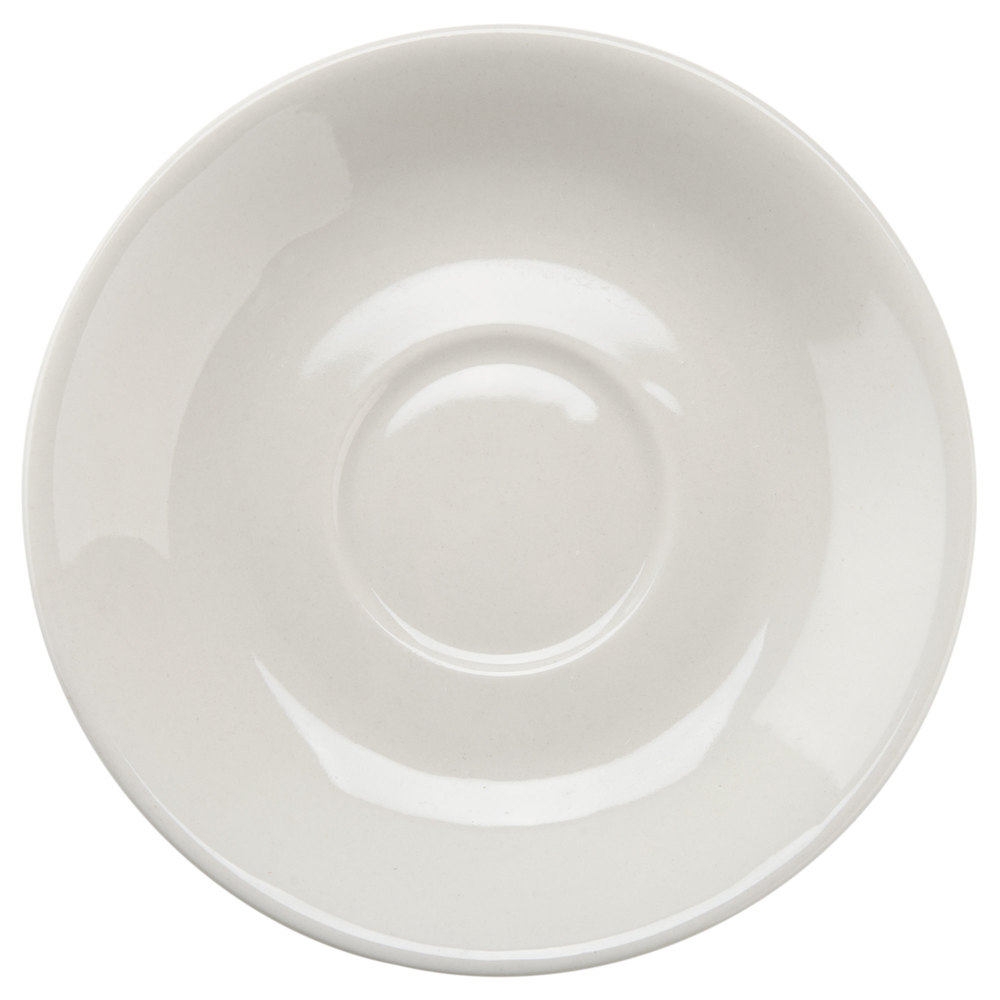 "Core 4 7/8"" Ivory (American White) Wide Rim Rolled Edge China Saucer - 9/Pack"