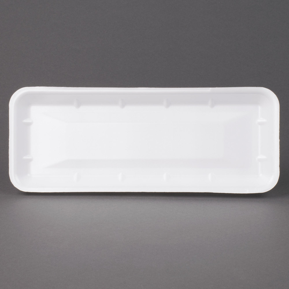 "Genpak 1007S (#7S) White 14 7/16"" x 5 3/4"" x 1"" Foam Supermarket Tray - 125/Pack"