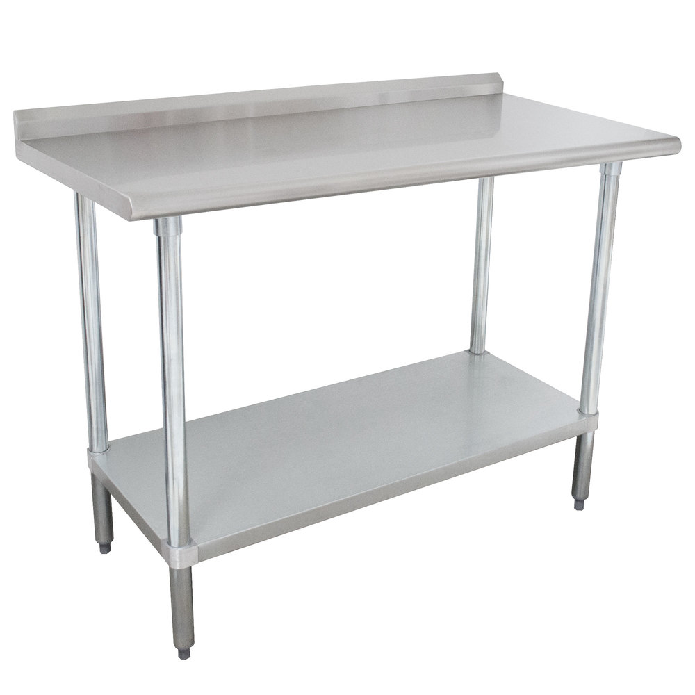 "Advance Tabco SFLAG-246-X 24"" x 72"" 16 Gauge Stainless Steel Work Table with 1 1/2"" Backsplash and Stainless Steel Undershelf"