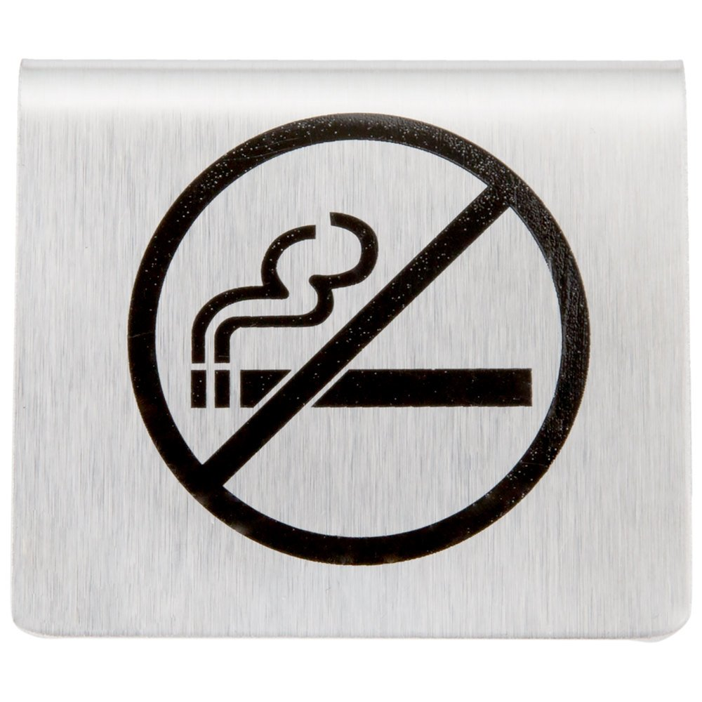 Tablecraft b8 2 12 x 2 stainless steel no smoking symbol tent sign main picture biocorpaavc Image collections