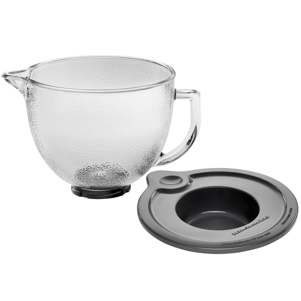 KitchenAid K5GBH 5 qt. Hammered Glass Mixing Bowl with Handle and Lid for Stand Mixers
