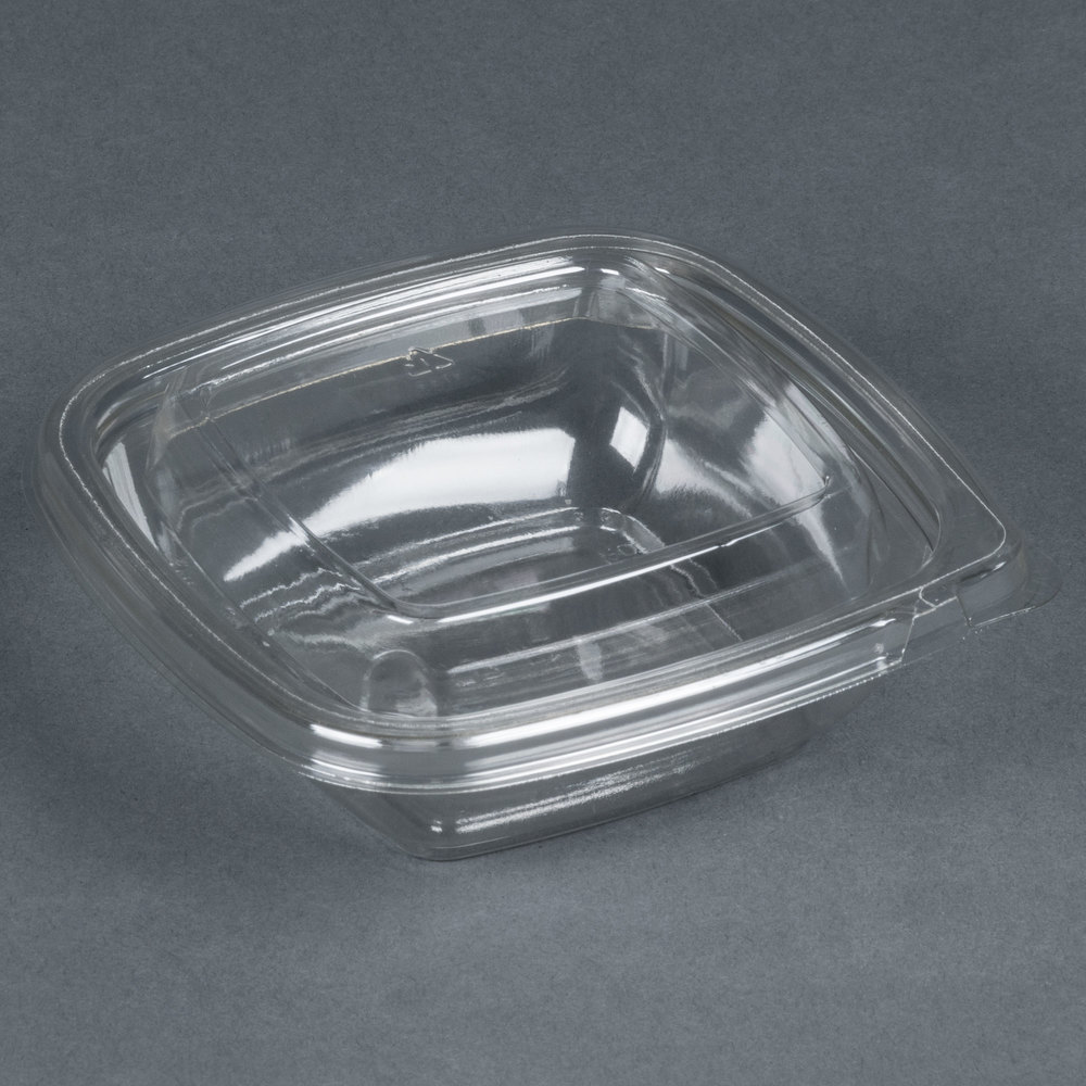 Sabert C15008TR250 Bowl2 8 oz. Clear PETE Square Tamper Evident Bowl with Lid - 25/Pack