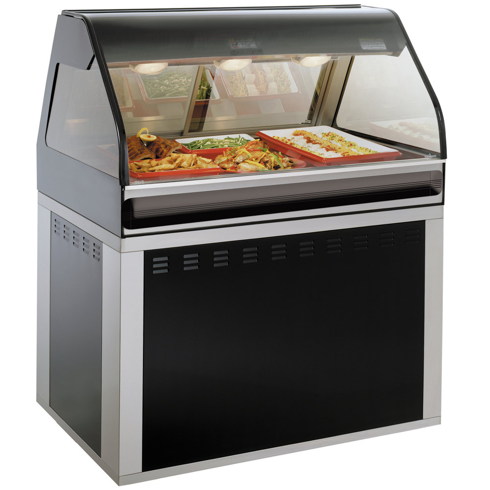 Alto-Shaam EU2SYS-48 SS Stainless Steel Cook / Hold / Display Case with Curved Glass and Base - Full Service, 48""