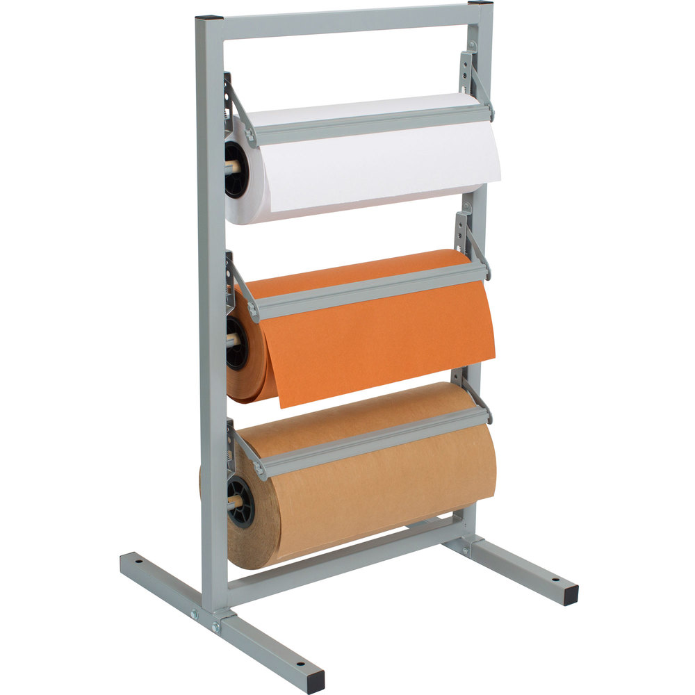 "Bulman T343R-15 15"" Three Deck Tower Paper Rack with Serrated Blade"