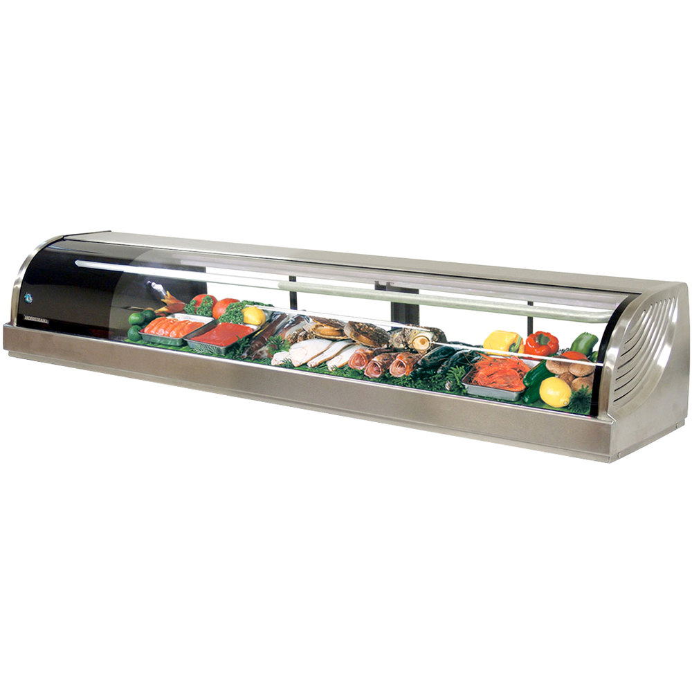 "Hoshizaki HNC-210BA-L-S Curved Glass Refrigerated Sushi Display Case 83"" - Left Side Compressor"