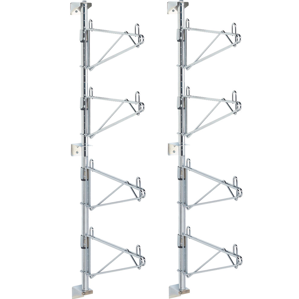 "Metro SW36C Super Erecta Chrome Four Level Post-Type Wall Mount End Unit for 18"" Deep Shelf - 2/Pack"