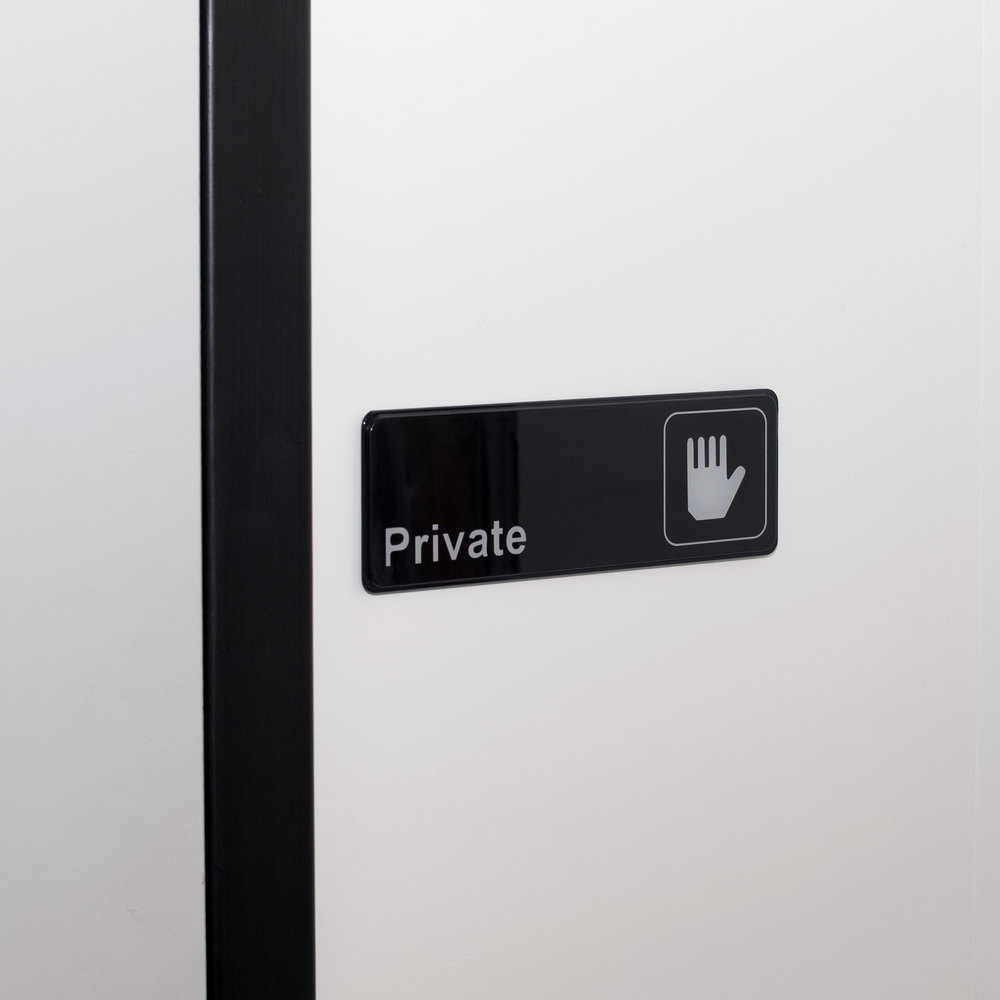 "9"" x 3"" Black and White Private Sign"