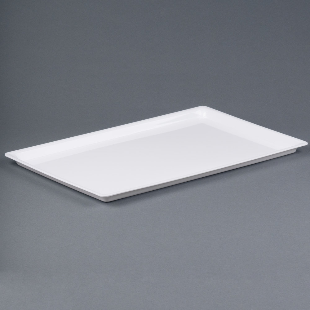 "Cal-Mil 325-12-15 12"" x 20"" Shallow White Bakery Tray"
