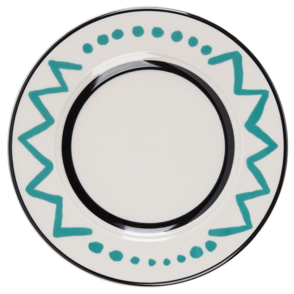 "Homer Laughlin Uptown 10 5/8"" Creamy White / Off White with Turquoise on Black China Plate - 12/Case"
